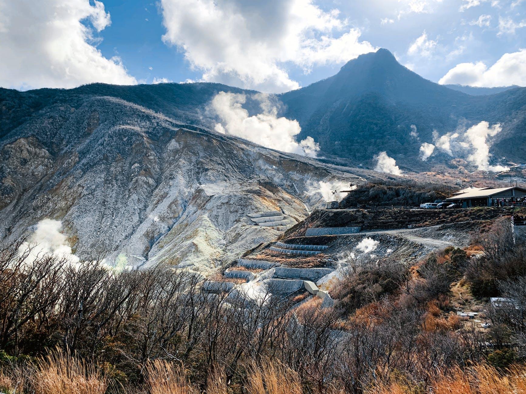 volcanic mountainous terrain with smokingfumes